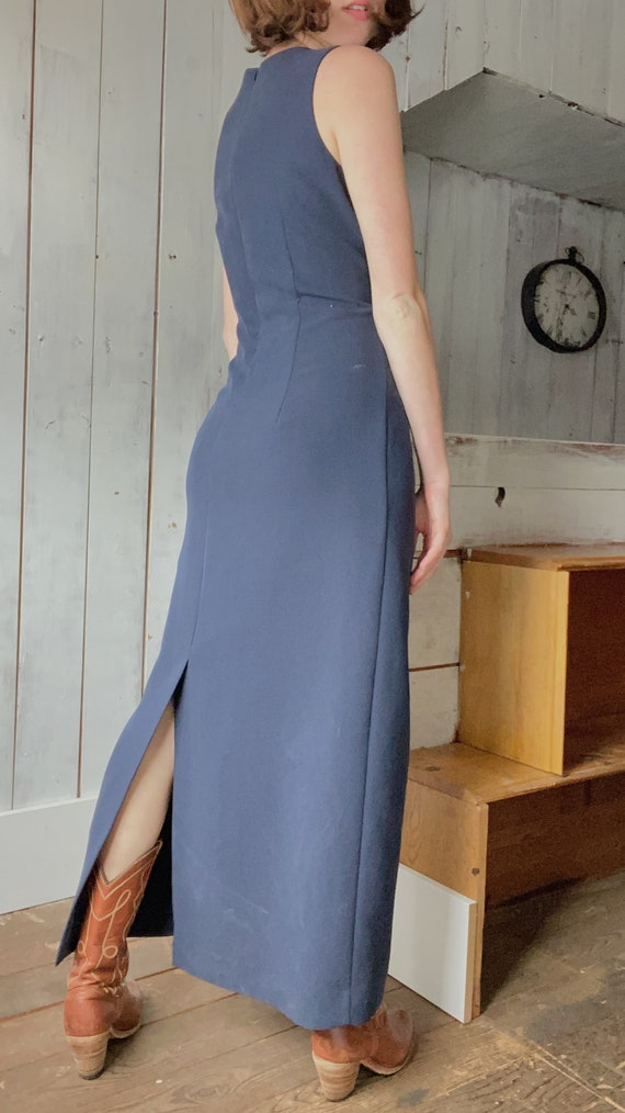 90's Laura Ashley Navy Long Dress - image 3