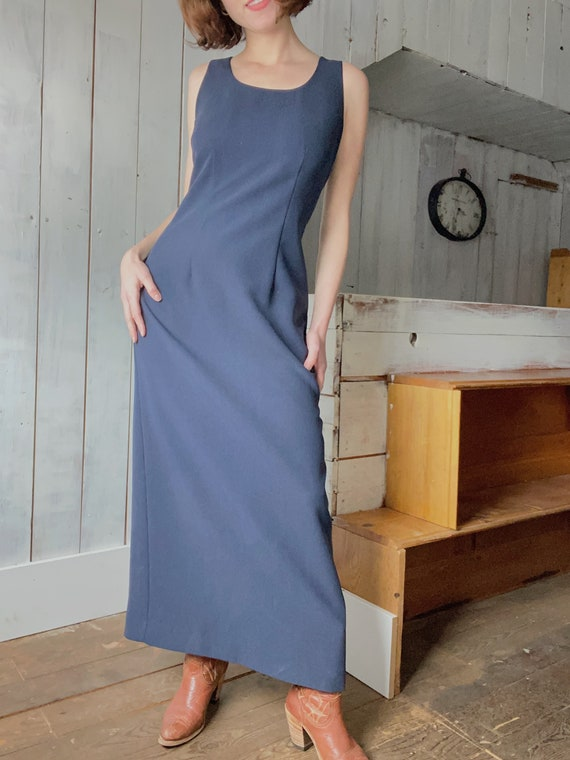 90's Laura Ashley Navy Long Dress - image 2