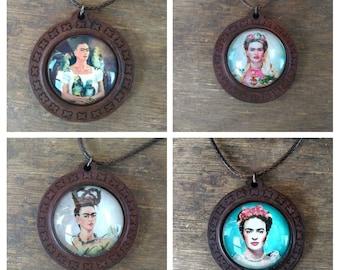 Frida Kahlo Green Square Cabochon Pendant Necklace