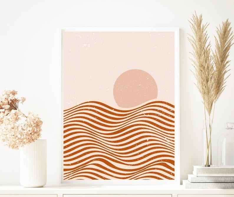 Boho Print Abstract Art Print Sunset Wall Decor Unique Boho Decor Landscape And Sun Boho Wall Decor Prints Burnt Orange Wall Decor