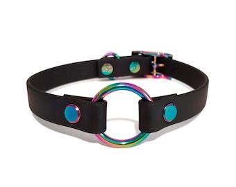 OLEANDER RAINBOW collar in black vegan leather