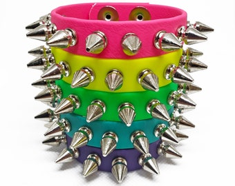 SHIRLEY wristband cuff in neon vegan leather