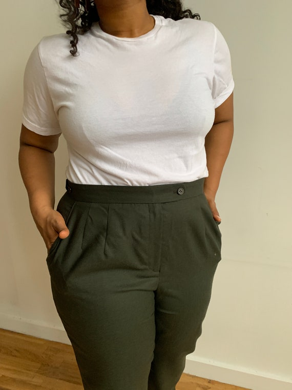 Green Wool Pants - image 3
