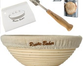 Round Banneton Proofing Basket Set, Dough Proving Kit, 9 inch, Bread scoring lame scraper included, Brotform, Professional Sourdough Bowl