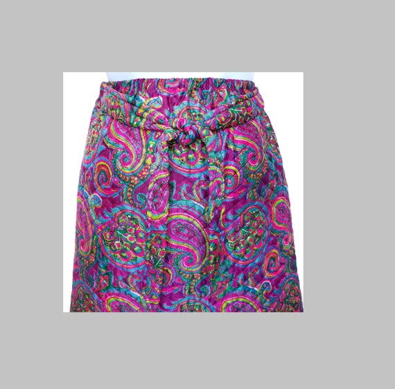 Quilted Maxi Skirt Hostess Size Small XS Vintage 60s Floral Paisley Mod Pink Purple