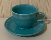 Vintage Fiesta Turquoise 3 1 2 Diameter Cup and 5 7 8 Saucer