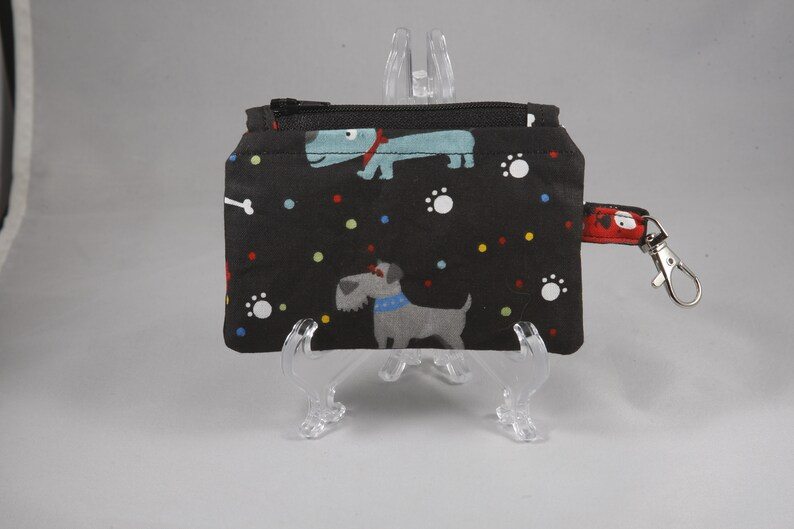 Small coin purse dog zippered coin purse small pouch travel pouch coin pouch gift card holder cute coins cash contacts backpack black paws