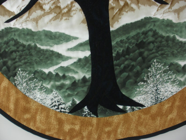 Tree of Life Fusible Applique Quilted Wall Hanging 29 Diameter Mountain Scene