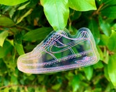 3D Kicks, Nike Air Force 1, Transparent, Clear, Glossy Coated Vinyl Contour Cut Sticker, Hand Drawn, Hydro Flask Sticker, Laptop Sticker