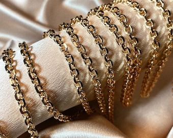 18K Gold Filled 8mm Solid Rolo Round Link Bracelet For Wholesale Bracelets Jewelry Making Supplies