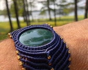 Green Aventurine Stone Navy Blue Macrame Adjustable Bracelet, NEW