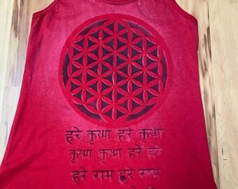 Flower of Life Sanskrit sacred Geometry One of a Racerback Tank Size Large