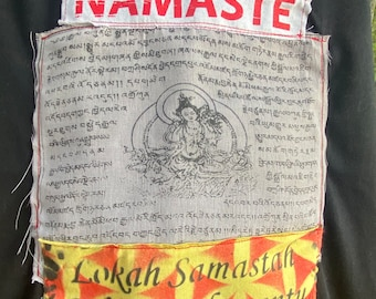 Sacred Prayer Flag from India Patch and Namaste and hand made lokah prayer One of a Racerback Tank Size Large