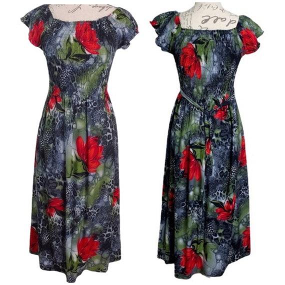 Vintage 1990s Red Roses Print Smocked Dress