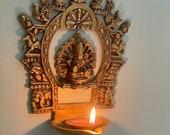 Sukhasana Laxmi with Prabhvali Diya,Laxmi Diya with Prabhavali frame,Wall hanging Lamp with Prabhavali,Handmade Lamp, Pradhavali with bell