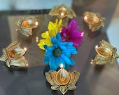 Set of 5 Lotus flower shaped oil lamps, wick lamps, Home decor 39 , Diya 39 s for Meditation room or Pooja Room, Handmade Lamp, Diya Home Decor