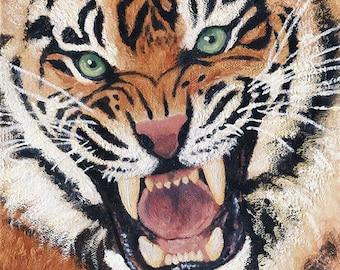 Uproar - Tiger Original Oil Painting, Tiger Portrait, Animal Oil Portrait