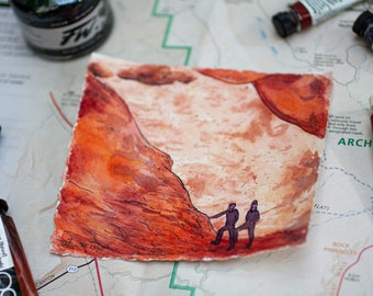 Sandstone Arch Original Watercolor Mini Painting