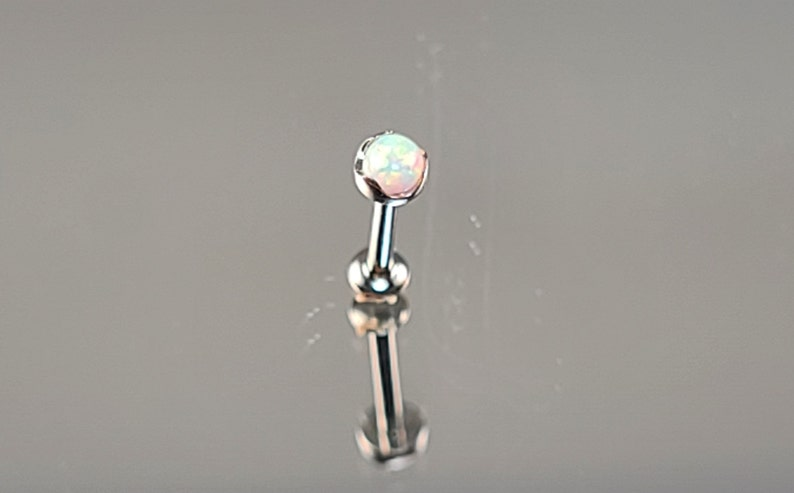 1.0mm Titanium Threadless 3mm White Opal Scoop Setting with your choice 14 18g length flatback post or  516 6mm 8mm
