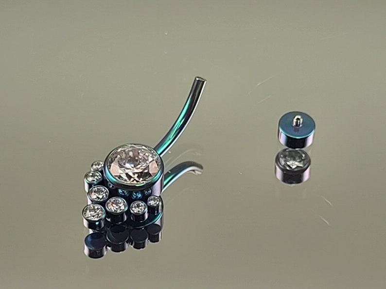 10mm length 14g 716 Titanium Iridescent Green Navel Belly Ring Internal Thread Prong-Set with 9-Gems Clear 8mm532211 38