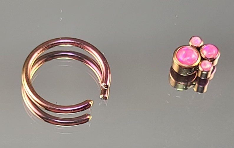 1.2mm Titanium Captive Bead Ring with Synthetic Pink Opals Quad Cluster CBR Anodized Rose Gold Finish Daith Septum 16g