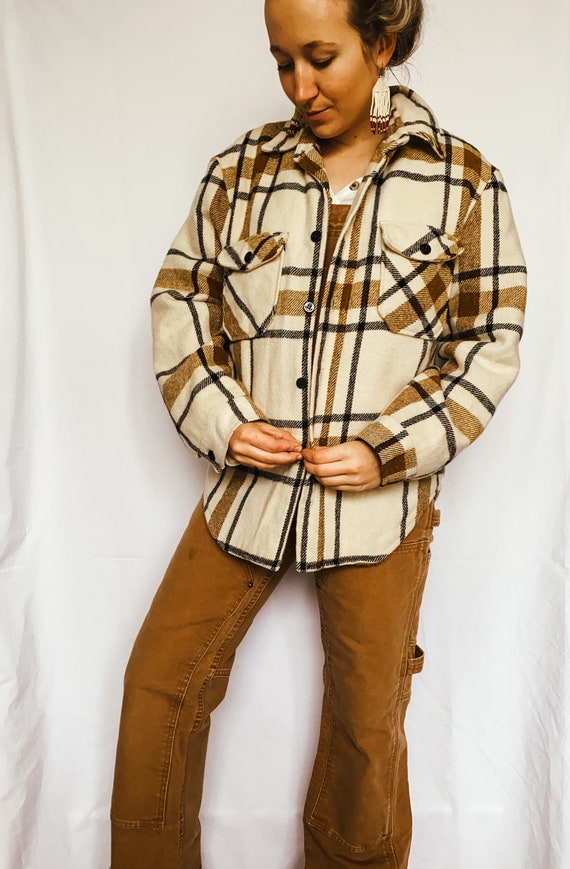 Vintage 60s Sears plaid shirt | Sherpa lined plaid
