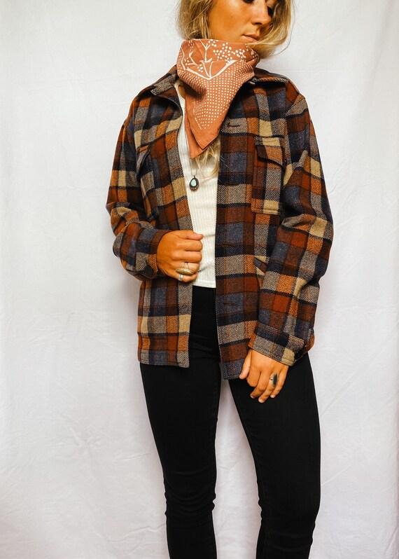 Vintage 1980s Pendleton wool jacket | plaid fall c