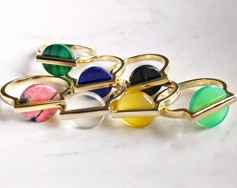 Agate Gold Golden Woman Ring