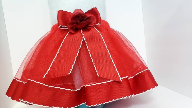 Twin Outfit Pretty Tutu Valentines Tutu Baby Girl Gift Red Ribbon Trim Tutu with Rose Baby/'s First Valentines Day Baby Shower Gift