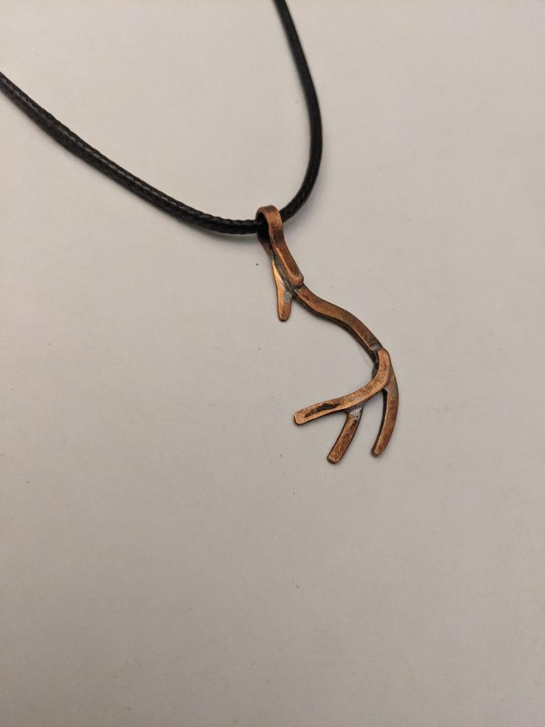 Deer antler copper charm necklace