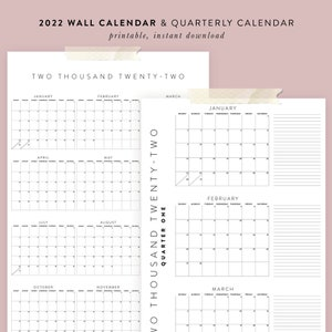 Printable 2021 Calendar Bundle Yearly Quarterly Calendars Etsy