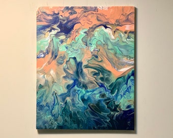 Acrylic Dutch pour painting Acrylic painting canvas original abstract painting acrylic art painting acrylic fluid art painting 16\u201dx20\u201d