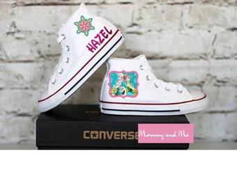 Les enfants Elsa et Raiponce blanc haut Top Converse chaussures avec ou sans cristaux