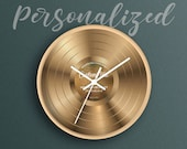 Personalized Wall Clock, Custom Vinyl Record, Custom Clock, Housewarming Gift, Music Gift, Anniversary gift for husband, Gift for couple