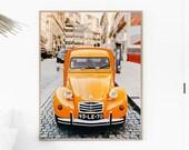 Vintage car decor, DIGITAL DOWNLOAD art, Retro decor, Boho wall art, Yellow car print, Southwestern decor, Travel poster, Retro Wall Art