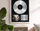 Personalized Vinyl Record, Custom Vinyl Record Framed, Platinum Vinyl Record, Music Award, Music Plaque, Wedding gift for her, gift for him