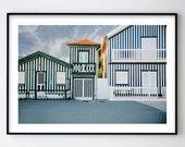 City Poster, Travel Print, Wall Art, Modern City Poster, Modern Travel Art, City Scape Print, Portugal Art, House Print, Stripes, Costa nova