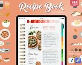 Digital Recipe Book Goodnotes, Hyperlinked Goodnotes Planner, Recipe Planner, Meal planner, Goodnotes recipes, Digital Cookbook, Recipe Book