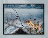 Hallstatt Mountains Print, Wall Art, Trees Landscape Print, Mountain Wall Art, Mountains Print, Printable Wall Art, Mountains