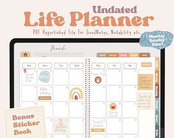 Undated Life Planner   Goodnotes Digital Planner   Life Digital Planner  Boho Digital Planner   Ipad Digital Planner   Notability Planner