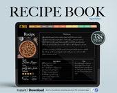 Digital Recipe Journal Goodnotes, Hyperlinked Goodnotes Planner, Recipe Planner, meal planner, goodnotes recipes, digital cookbook Black