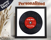 Personalized Vinyl Record, Any Song Lyrics Personalized Print, Custom Vinyl Record Framed, Wedding Gift, Gift for Him, Creative Gift for Her