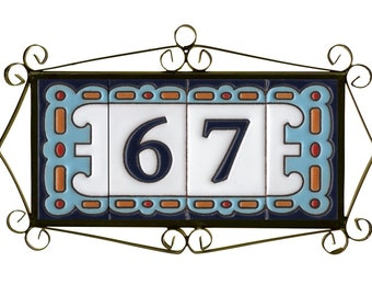 Letters and Frames Spanish Cherry Hand-painted Ceramic Tiles For House Numbers