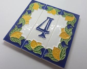10cm x 3.3cm Italian Handcrafted Lemon Designed Ceramic Letter Tiles House Number Tiles and Frames