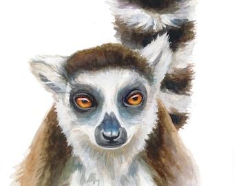 Ring-Tailed Lemur Watercolor Portrait Print - 11x14