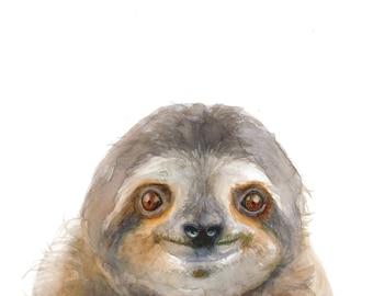 Three-Toed Sloth Watercolor Portrait Print - 11x14