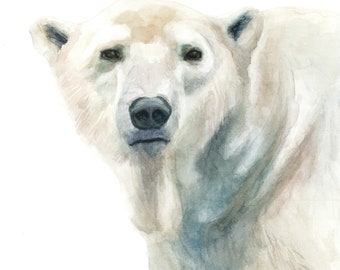Polar Bear Watercolor Portrait Print - 11x14