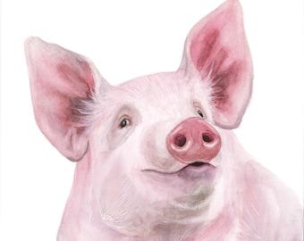 Pig Watercolor Portrait Print - 11x14