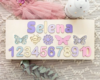Butterfly, Bee, Flower Personalized Name Pastel Puzzle, Baby Gift, Nursery Decor, Wood puzzle, 1st Birthday Gift Name Puzzle, Numbers