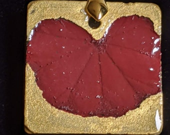 Mallow Maroon and Gold Concrete Pendant Necklace